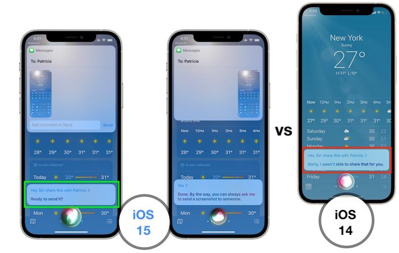 share screen content iOS 15 vs iOS 14