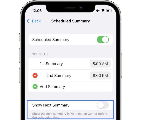 show next summary iOS 15 beta 5