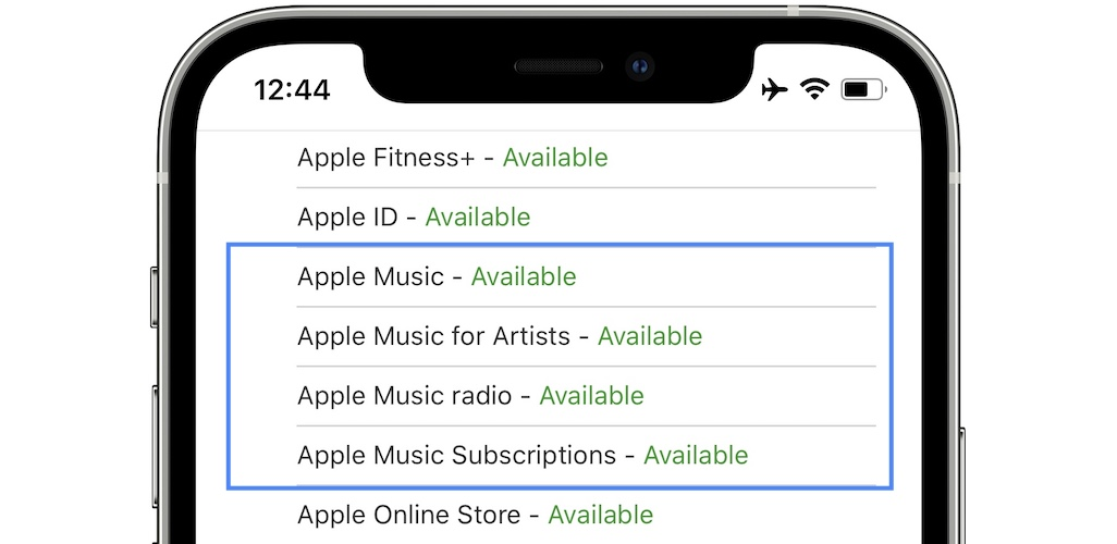 Apple Music system status page