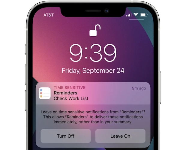 Leave On time sensitive notification