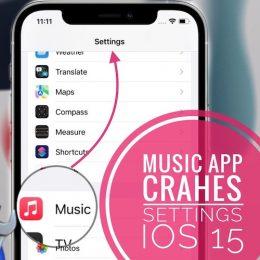 Music app crashes Settings in iOS 15