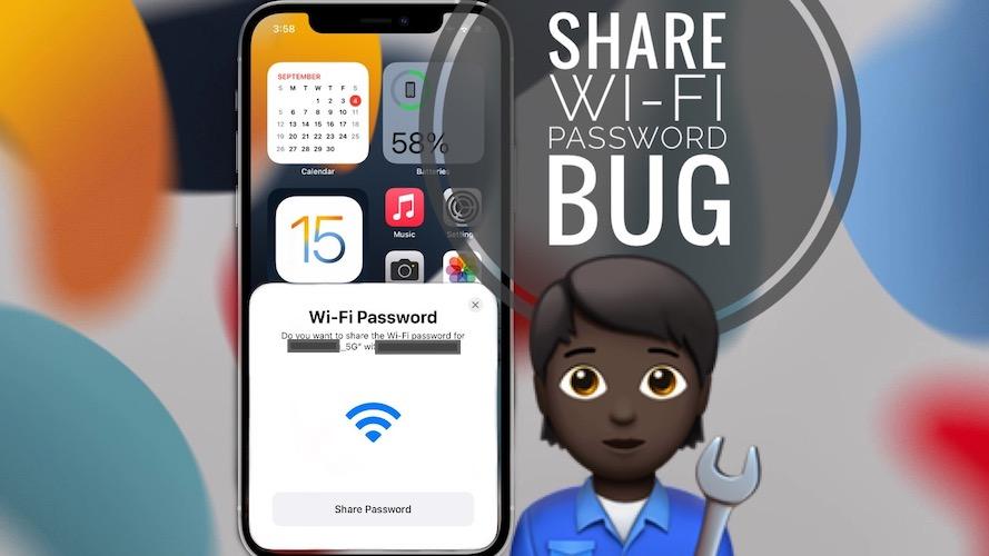 Share WiFi Password bug in iOS 15