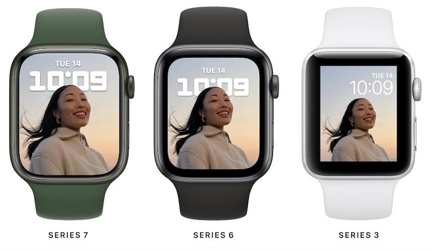 apple watch 7 screen size comparison