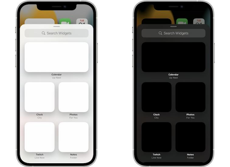 blank widgets in add widget panel