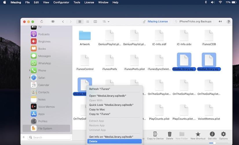 delete medialibrary files to fix Settings app crash