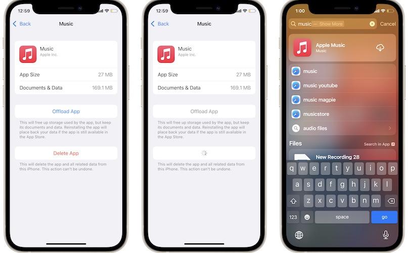 deleting Apple Music in iOS 15