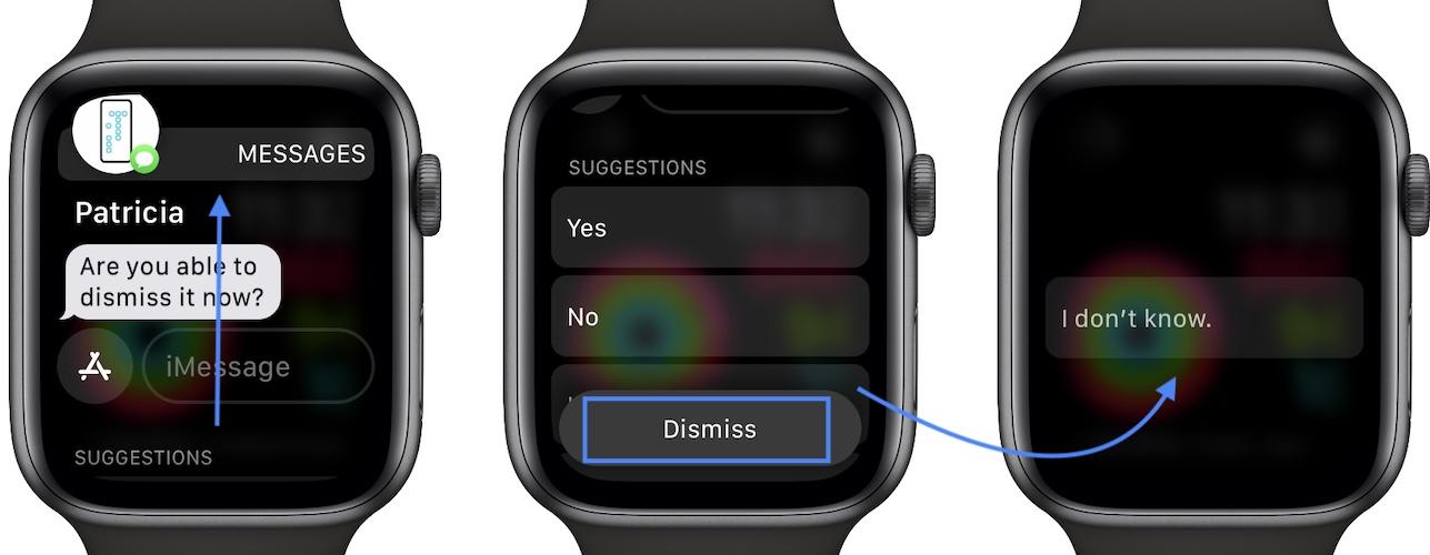 dismiss messages not working in watchos 8