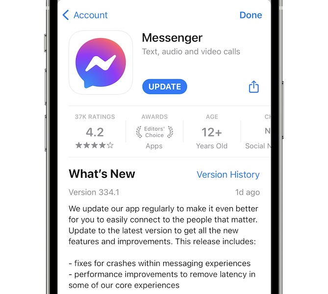 facebook messenger update 334.1 with bug fixes