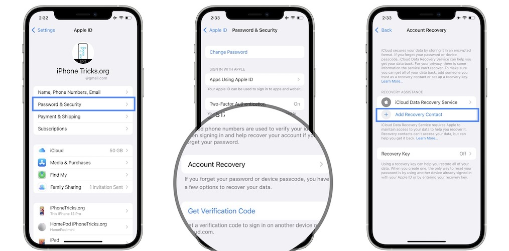 how to add account recovery contact on iphone