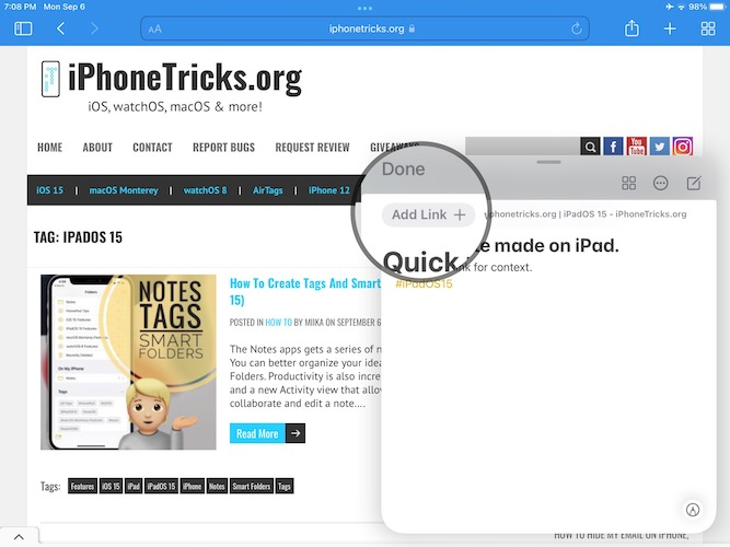 how to add link to quick note