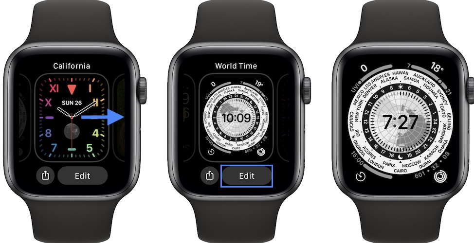 how to change California watch face