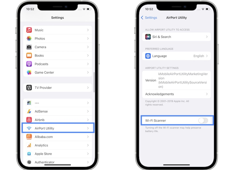 how to configure airport utility app to scan for channels