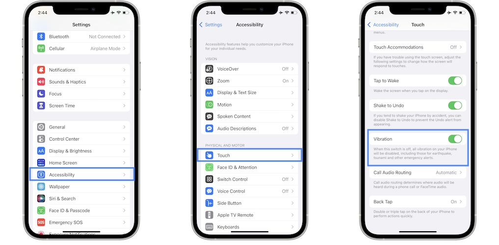 how to disable all vibrations on iphone