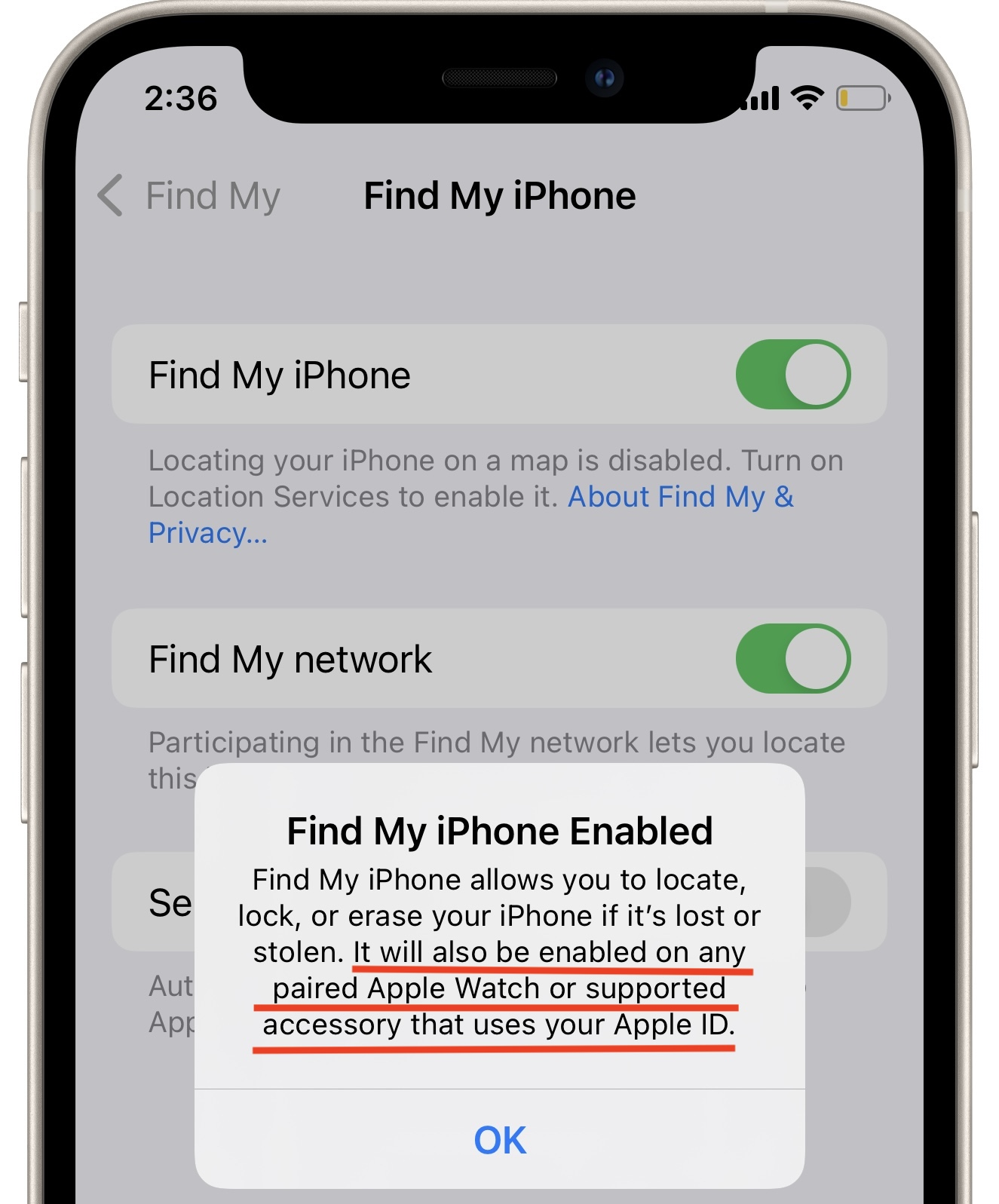 how to enable Find My for Apple Watch