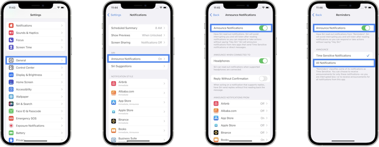 how to enable announce notifications in iOS 15