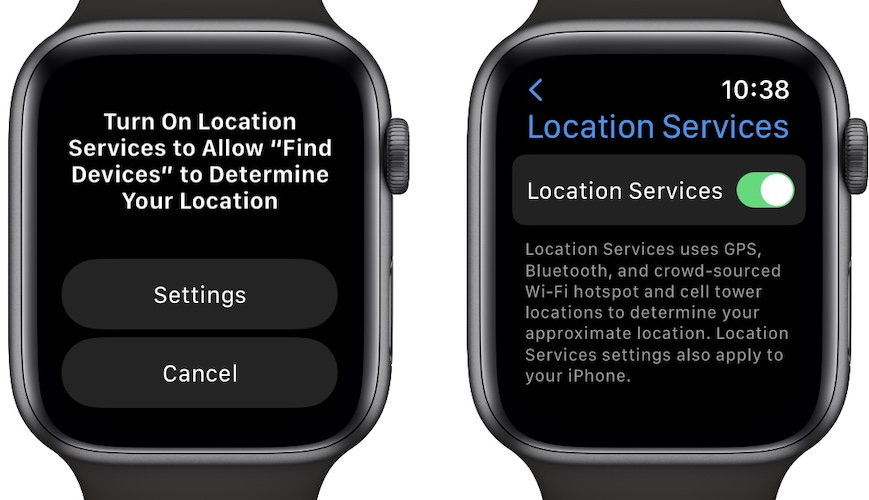 how to enable location services on apple watch