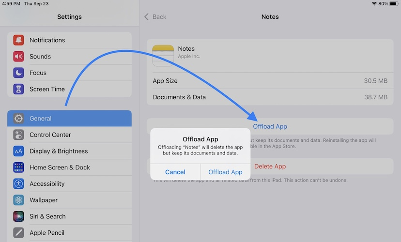 how to offload notes in ipadOS 15