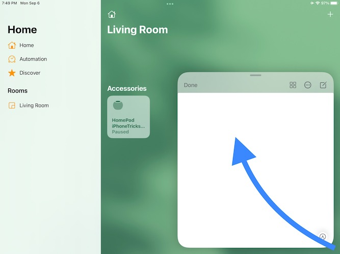 how to open quick note in ipados 15