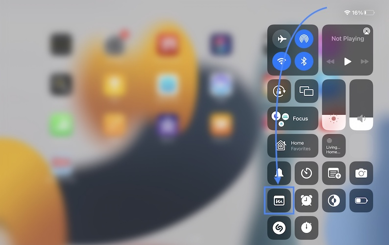 how to open quick notes from control center