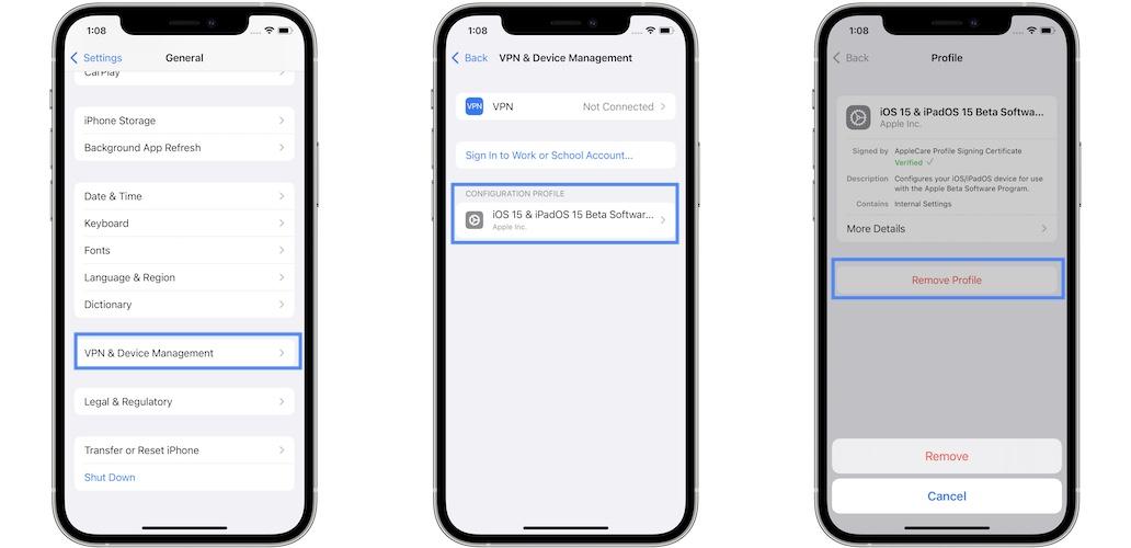 how to remove iOS 15 Profile