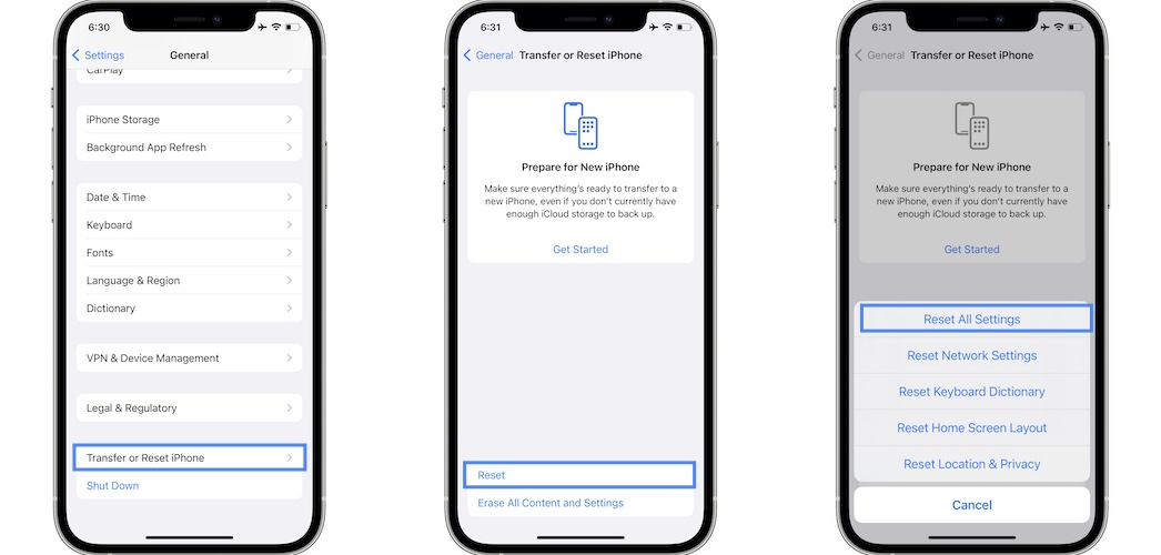 how to reset all settings in ios 15