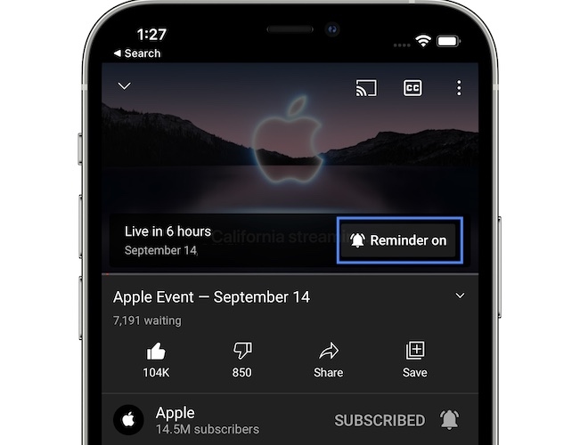 how to set reminder for Apple Event