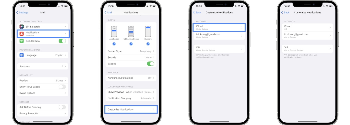how to turn off duplicate mail notifications