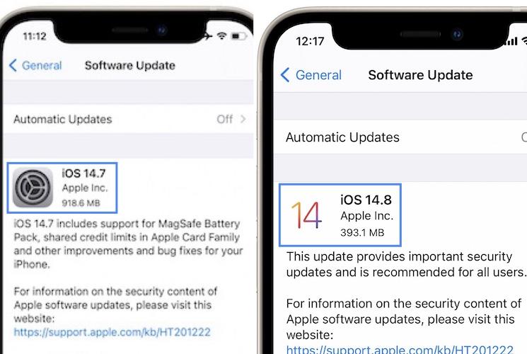 iOS 14 logo in software update screen