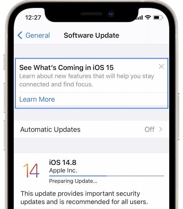 iOS 15 preview teaser in software update