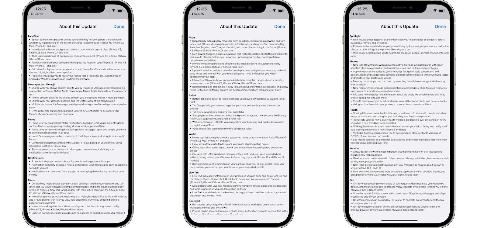 iOS 15 update log