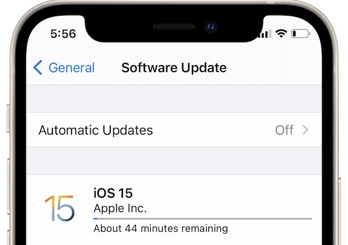 iOS 15 update taking long