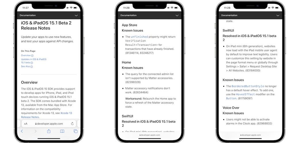 iOS 15.1 Beta 2 release notes