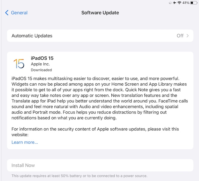 iPadOS 15 download