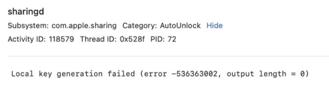 iPhone 13 fails to generate unlock key