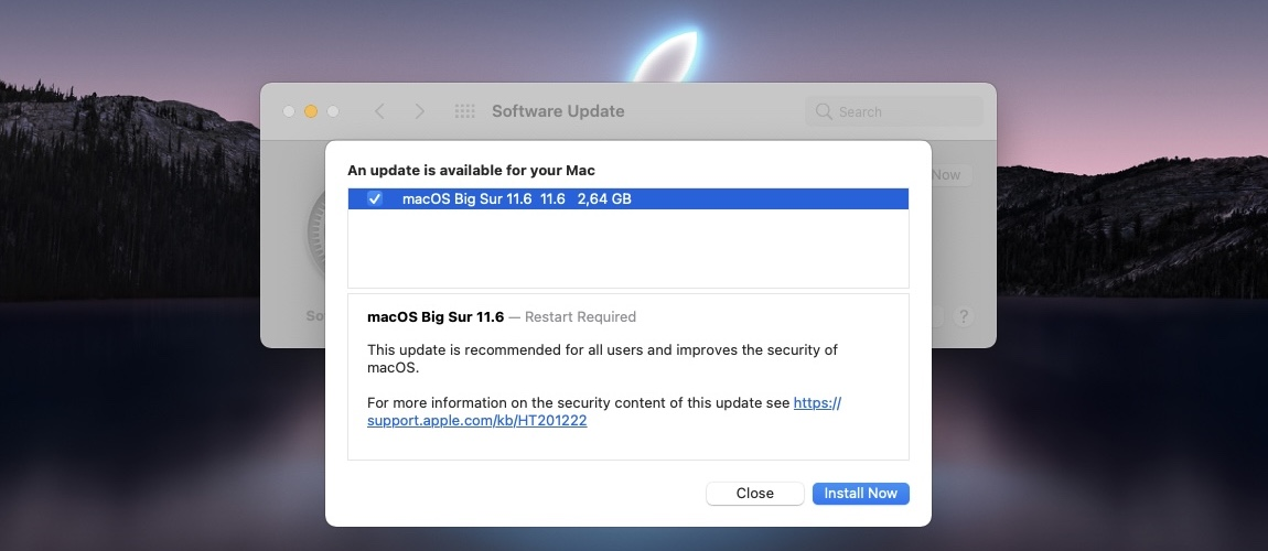 macOS Big Sur 11.6 update log
