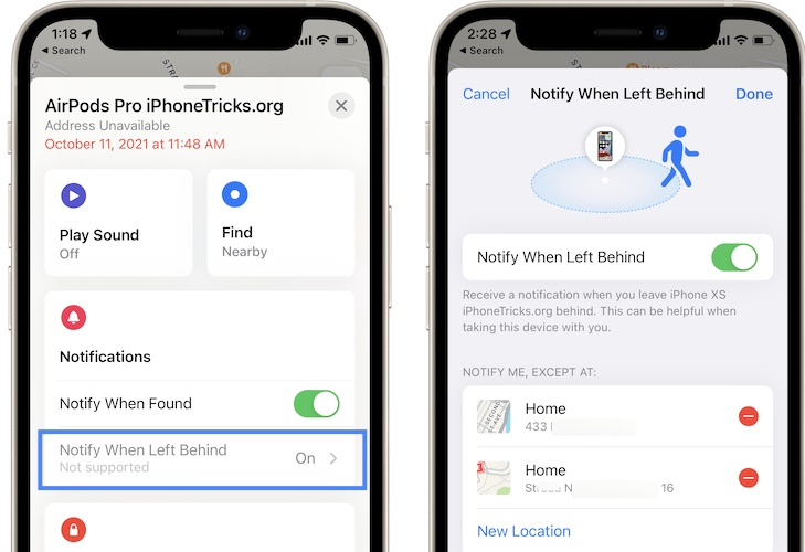 AirPods Pro notify when left behind trusted locations
