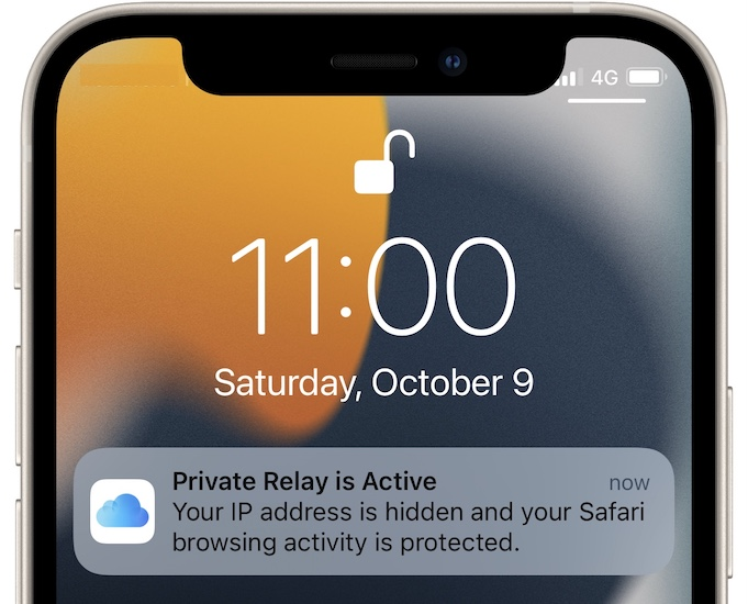Private Relay is active notification