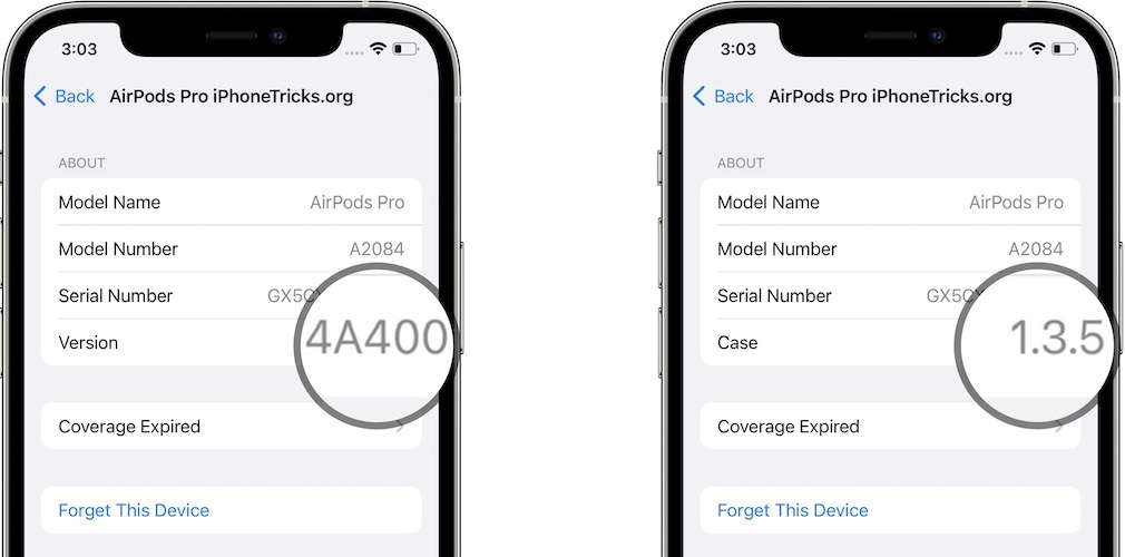 airpods pro firmware and case versions