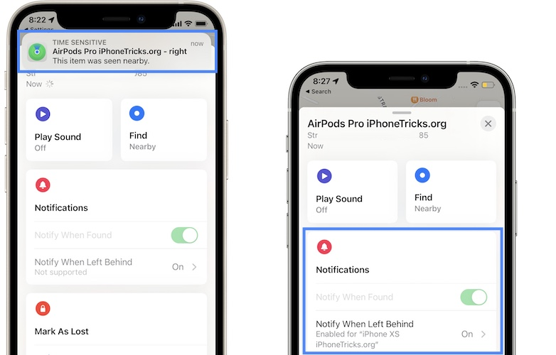 airpods pro notify when left behind