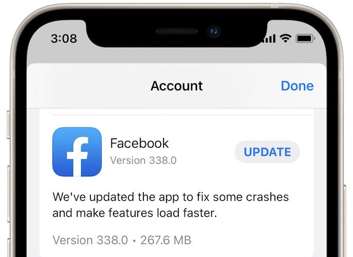 facebook update in app store