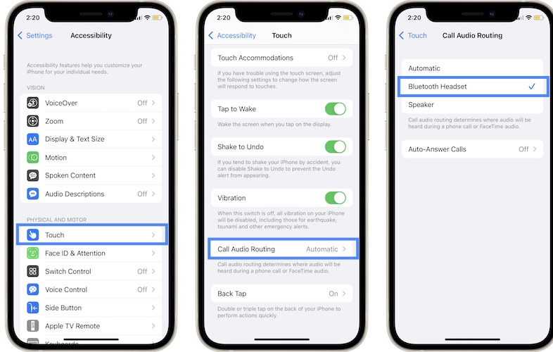 how to change call audio routing setting on iphone