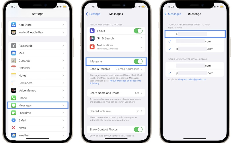 how to configure iMessage on iPhone
