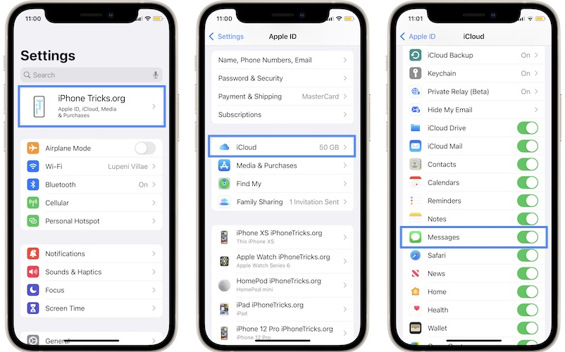 how to disable iCloud Messages