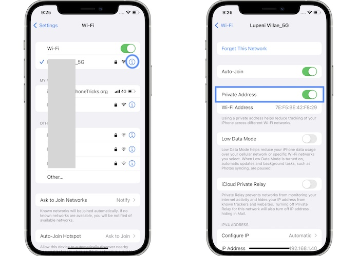 how to disable private address for wifi