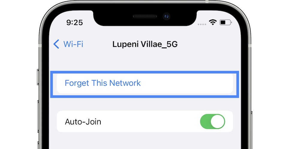 how to forget wifi network