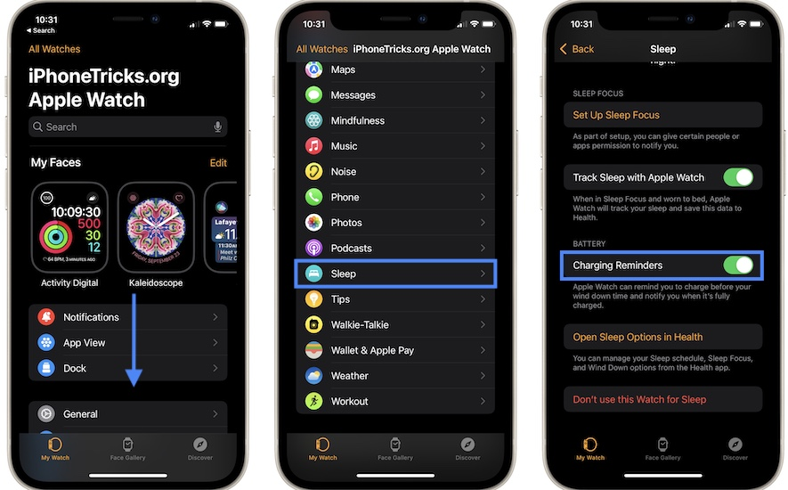 how to turn off Apple Watch fully charged notification