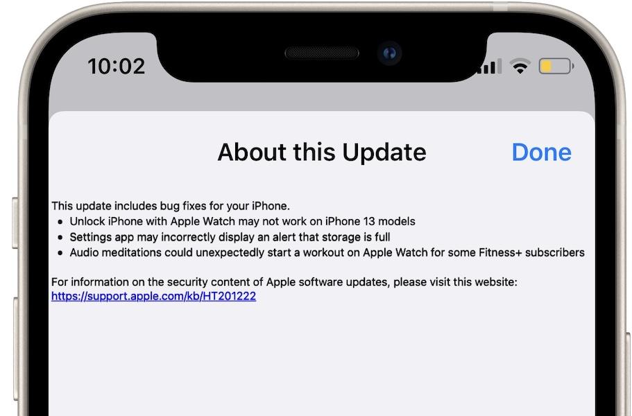 iOS 15.0.1 bug fixes