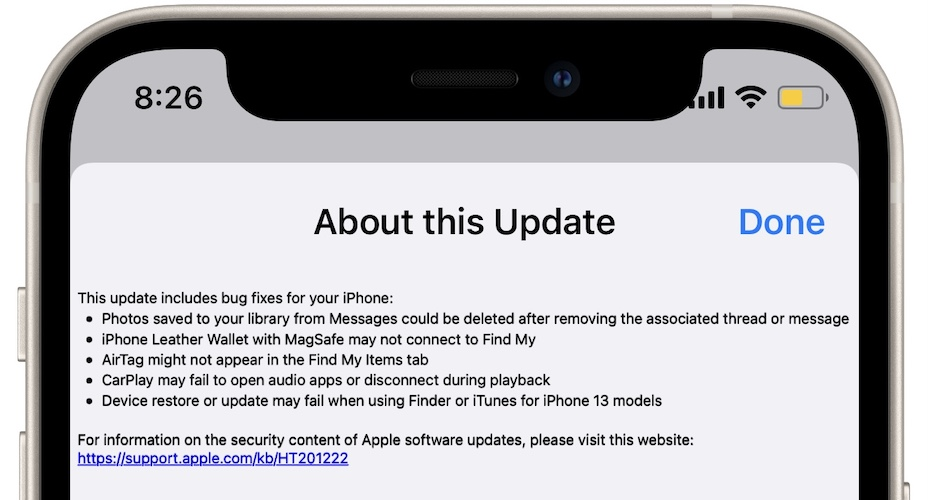 iOS 15.0.2 release notes