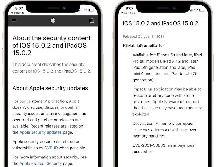 iOS 15.0.2 security content