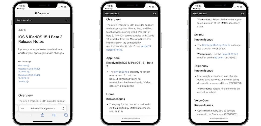 iOS 15.1 Beta 3 release notes
